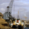Sand dredger Harry Brown at Pooles Wharf, 1985