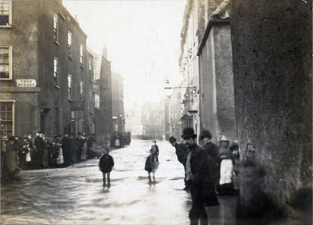 Penn Street in the centre of Bristol during the floods of 1882