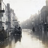 Milk Street in the centre of Bristol during the floods of 1882