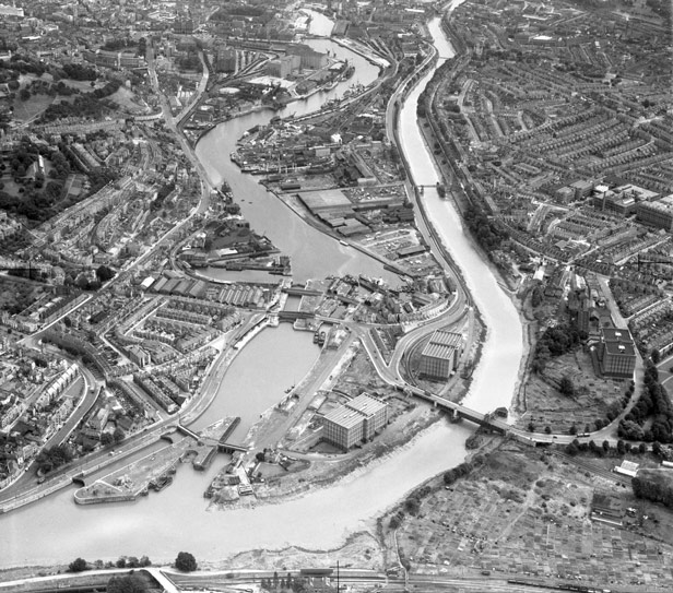 Aerial view showing the river at high tide - New Cut and Cumberland Basin