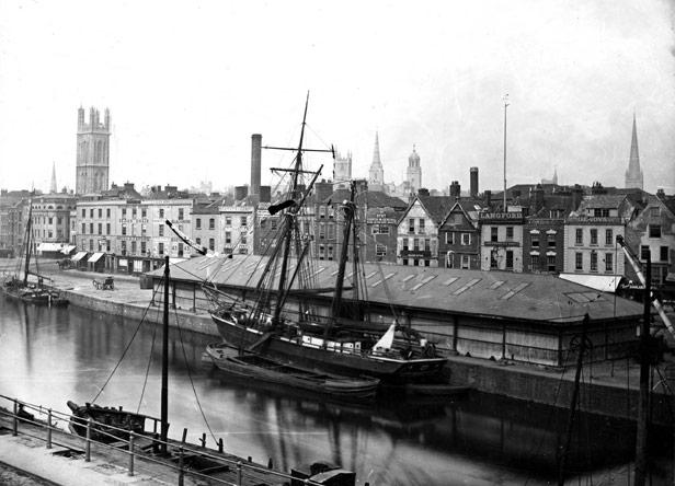 Transit shed, Narrow Quay, 1870s