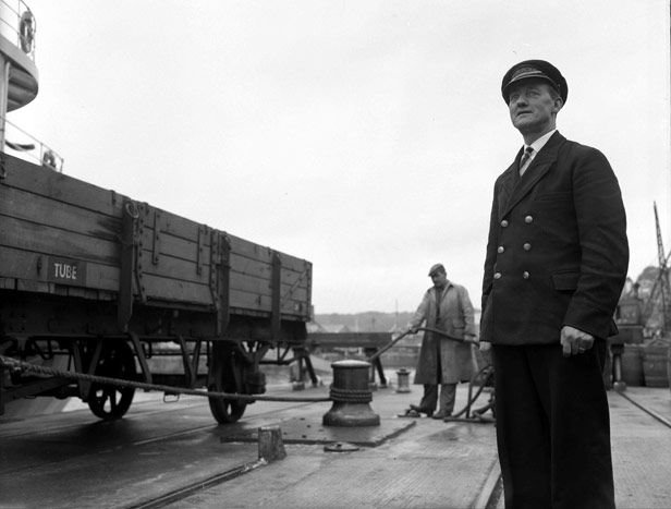 Foreman (A. Harris supervising railway wagon capstan operation, September 1958