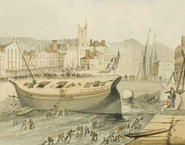 Dredging at St Augustine's Reach, 1820s