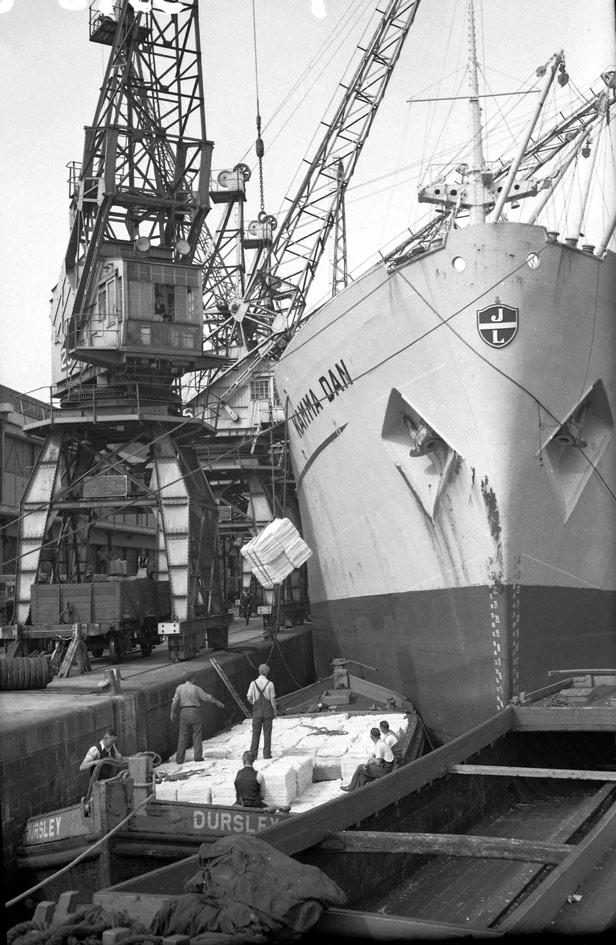 Discharging woodpulp, 30 June 1954