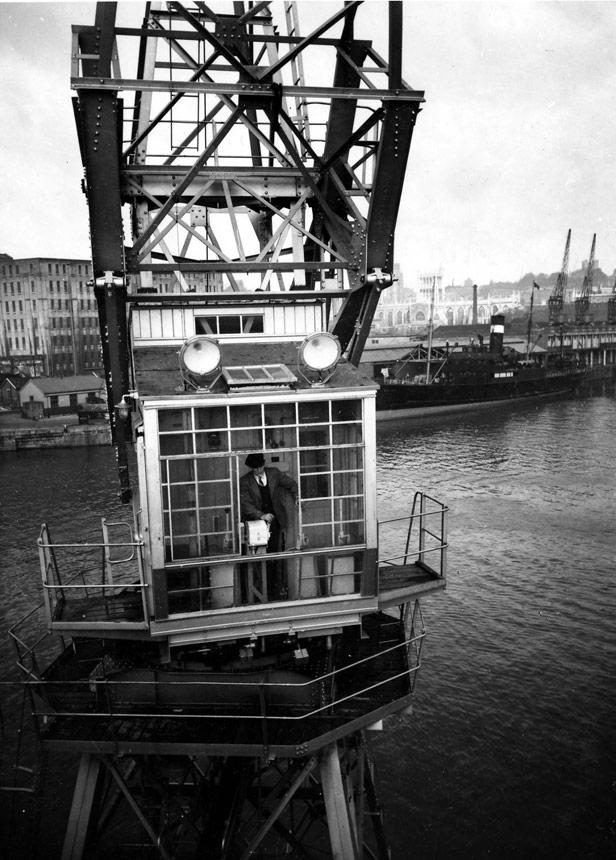 Cab of electric crane on Princes Wharf, 1952