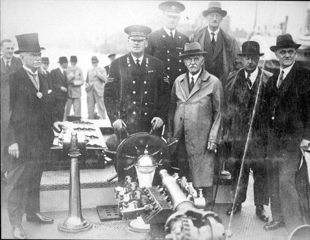 Handing over ceremony for fire boat Phoenix II, 1934