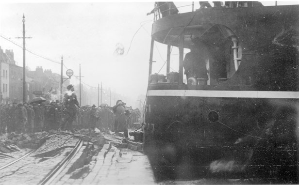 Launch of 'Dumra' showing collision with Hotwells Quay, c. 1921