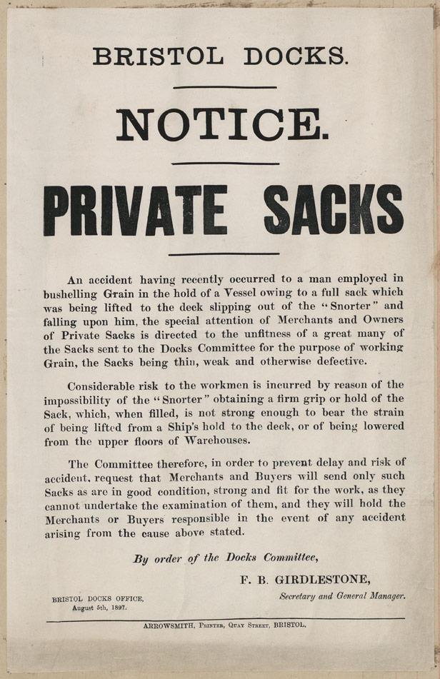 Bristol Docks Notice of use of Private Sacks