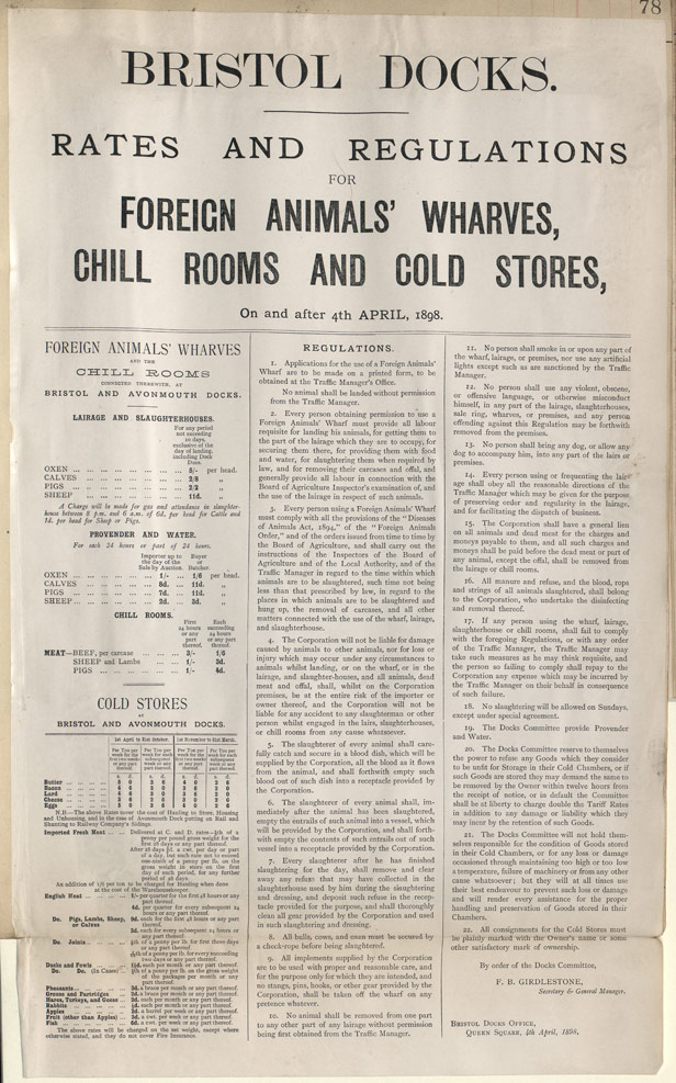 Bristol Docks Rates and Regulations for the Import of Foreign Animals