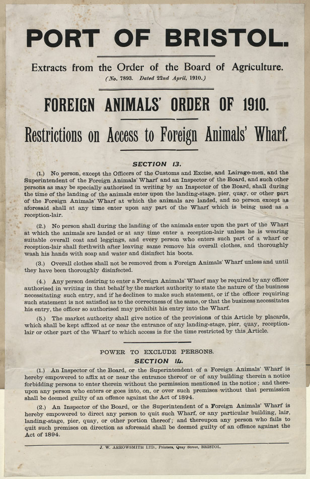 Port of Bristol Foreign Animals Order 1910