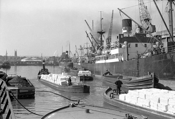 Tugs with trains of barges